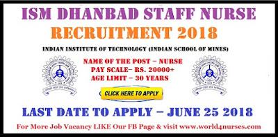 ISM Dhanbad Staff Nurse Vacancy 2018