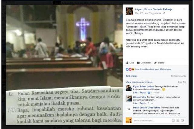 Viral, Foto Doa Umat Katolik untuk Umat Islam yang Berpuasa