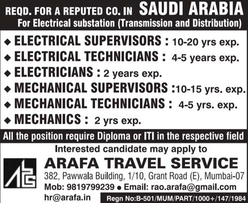 Electrical Substation Jobs in Saudi Arabia | Arafa Travel Service  Mumbai