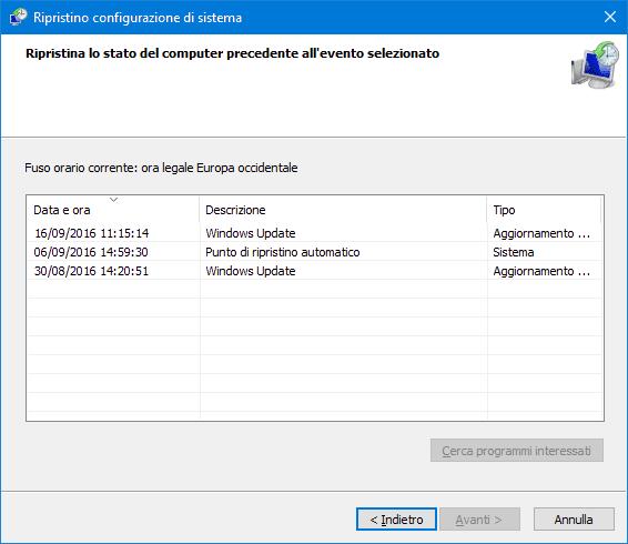 Ripristino configurazione di sistema Windows 10