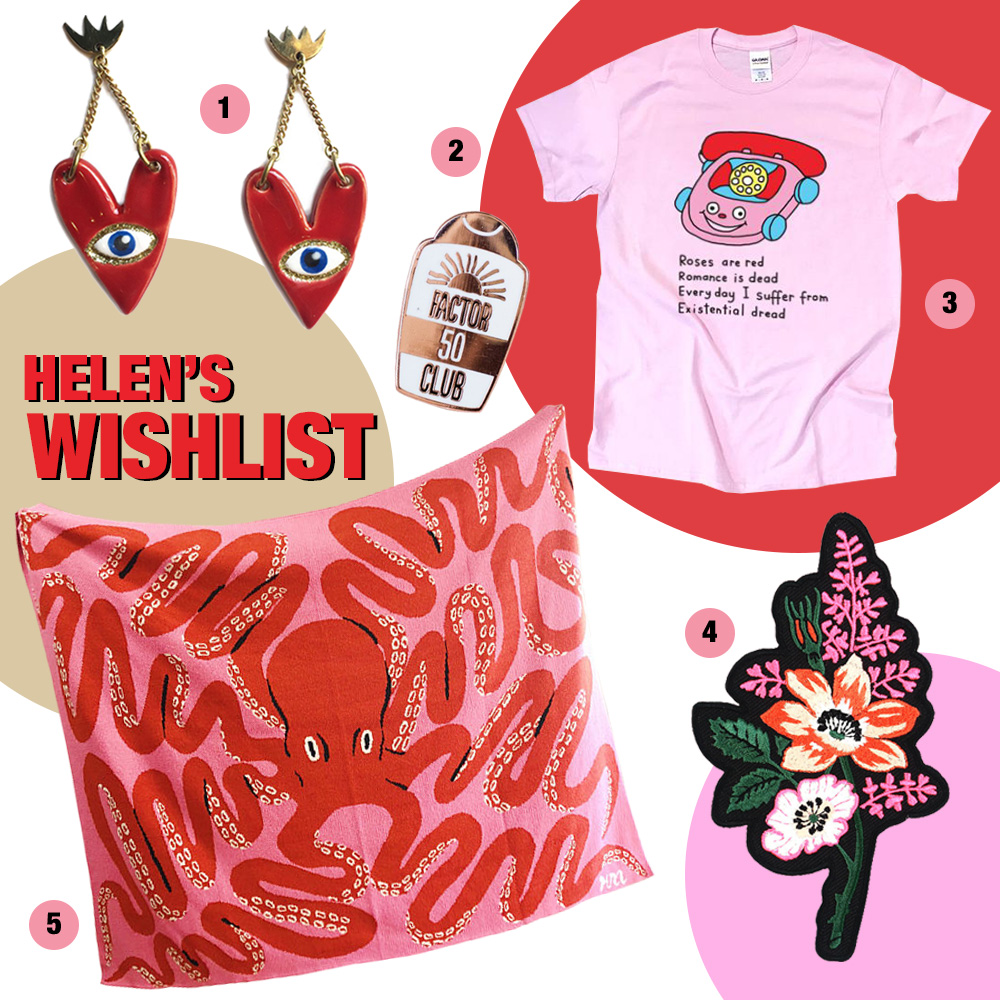 Wishlist featuring earrings by Atisans and Adventures, pin by Finest Imaginary, tshirt by Yippy Whippy, patch by Jacqueline Colley and blanket by Kristina Micotti