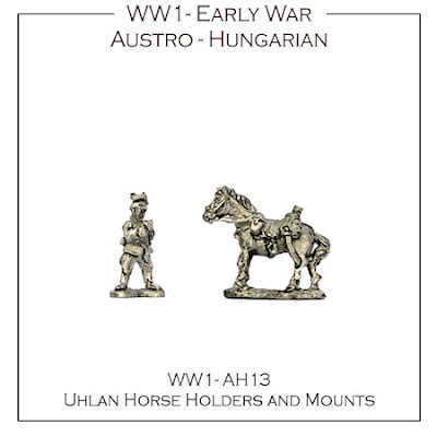 WW1-AH13 Austro-Hungarian Early War Uhlan Horse Holders and mounts - (16 mounts, 4 horse holders + 4 bases)