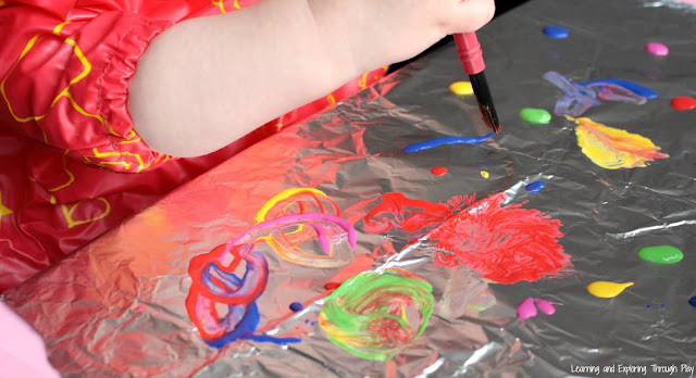 Painting on Foil. Easy Process Art for Kids. Learning through Play. Fine Motor Activities.