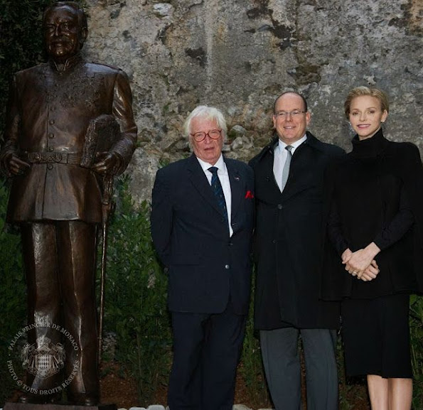 Prince Albert, Princess Charlene, Princess Caroline and Princess Stephanie unveiled a new sculpture of Prince Rainier