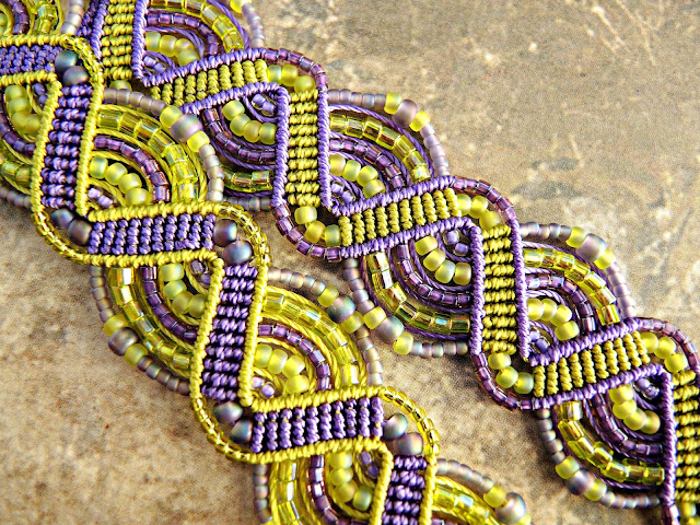 Purple and green beaded macrame.