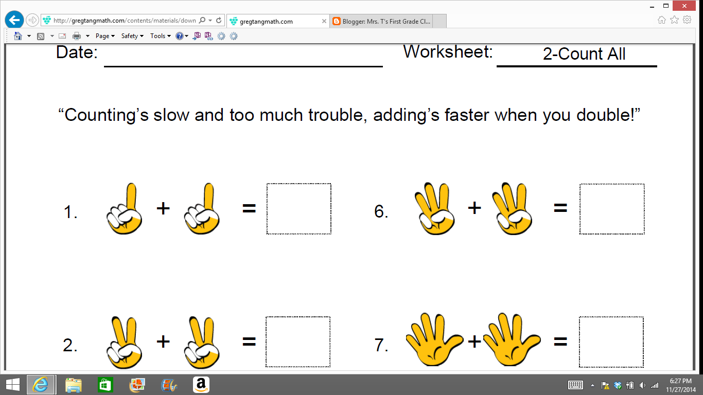 Mrs T S First Grade Class Greg Tang Math Resources