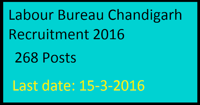 Labour Bureau Chandigarh Recruitment 2016 Apply online for 268 Investigator, Supervisor and Consultant Posts