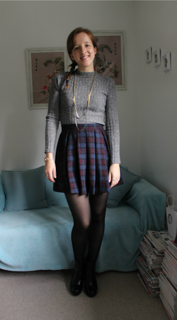 OOTD: Tartan skirt and new Clarks boots!, Clarks, Primark, Roll Neck Jumper, Tartan Skirt, New look, Outfit, Outfit of the Day, Fashion, Fashion Blogger