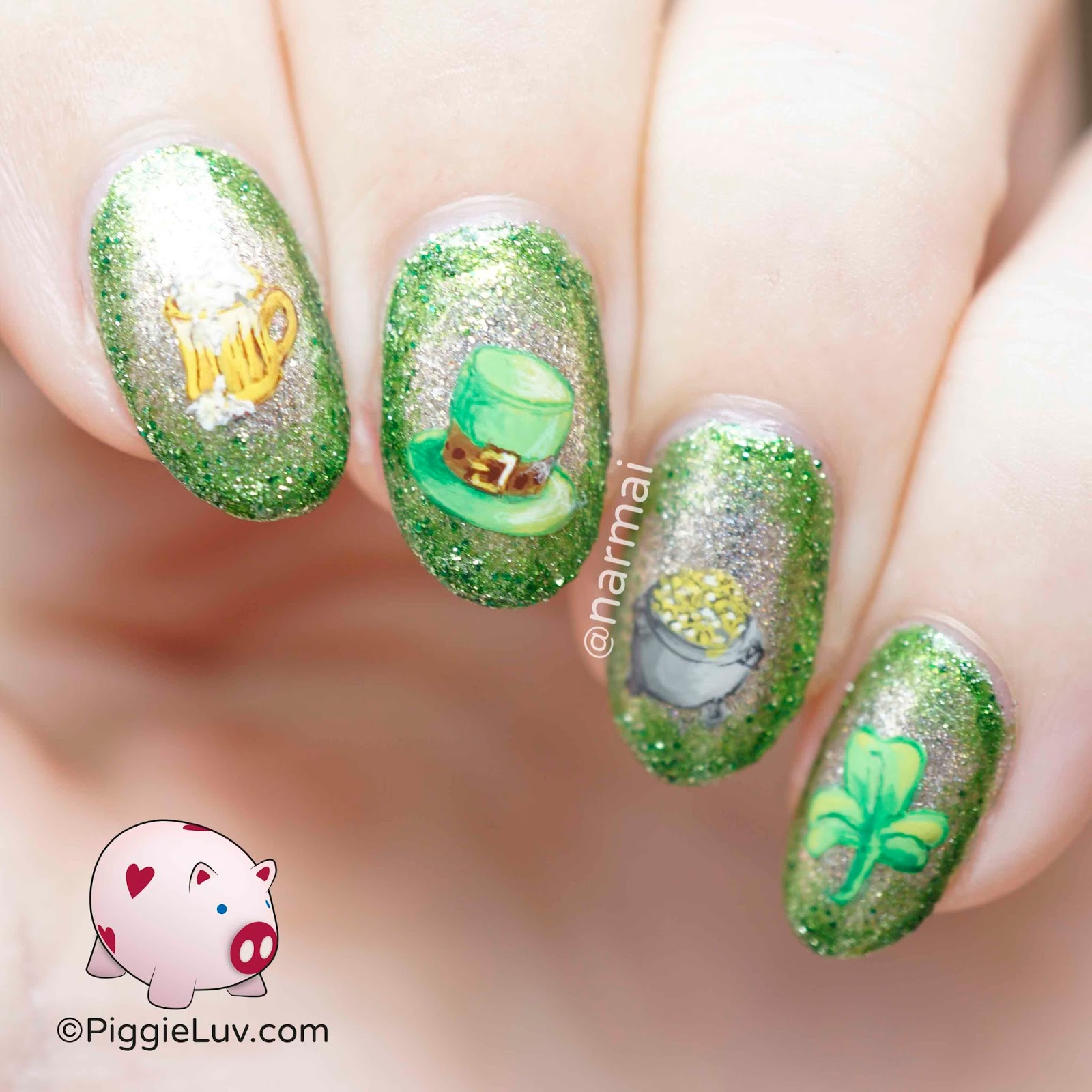 PiggieLuv: Lucky hat nail art for St. Patrick\'s Day