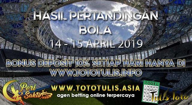 HASIL PERTANDINGAN BOLA TANGGAL 14 – 15 APR 2019