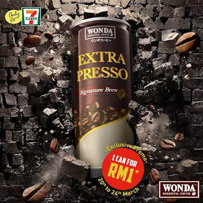 7 Eleven WONDA Coffee Extra Presso RM1 Discount Promo