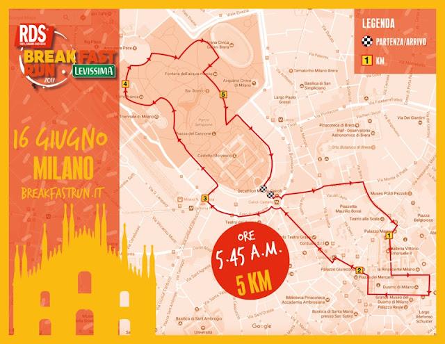 RDS Breakfast Run Levissima - Milano venerdì 16 giugno - percorso
