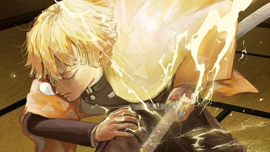 Zenitsu, Breath of Thunder, Kimetsu no Yaiba, 4K, #3.1408