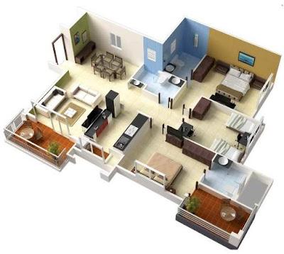 Contoh Rumah Minimalis 1 Lantai 3 Kamar