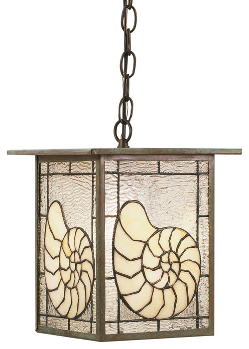 Nautilus Shell Stained Glass Hanging Light Pendant