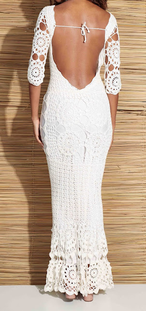 Vestido de noiva de crochê com gráfico