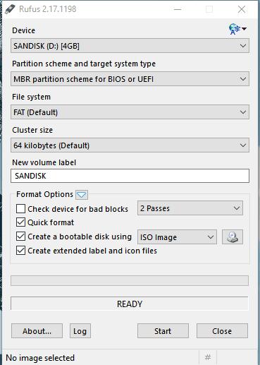create bootable USB flash drive using Rufus