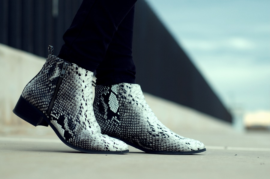 snake boots asos street style
