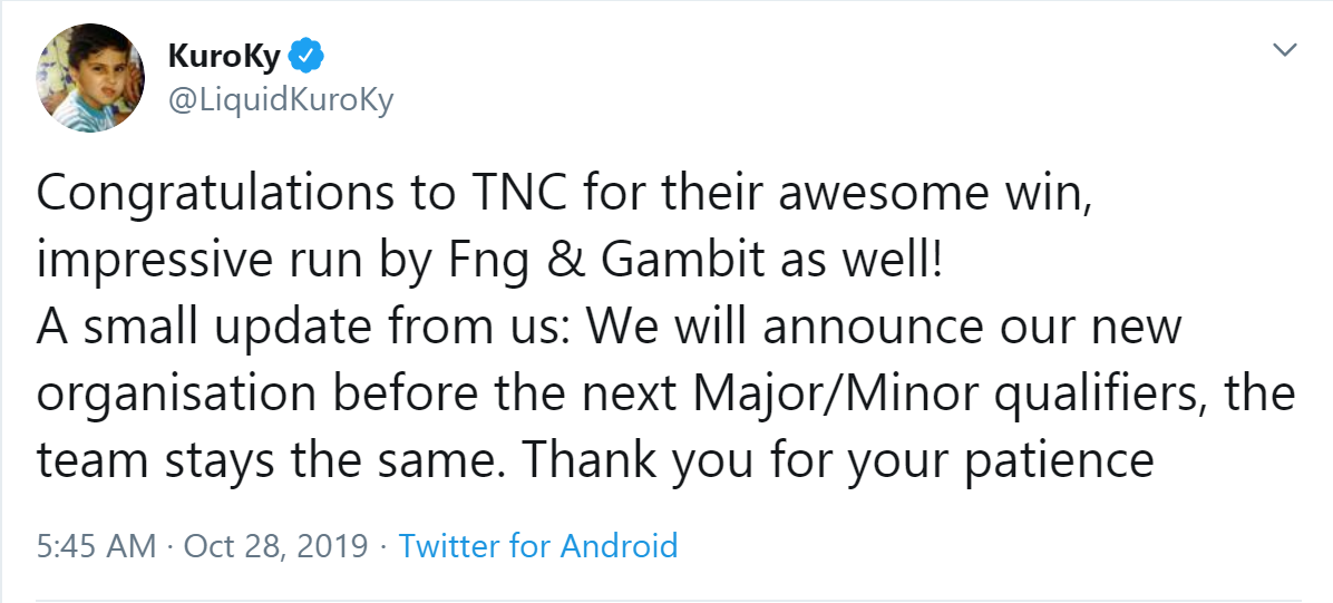 kuroky tweet - Kuroky cùng đồng bọn hé lộ thời điểm trở lại với Dota 2 chuyên nghiệp?