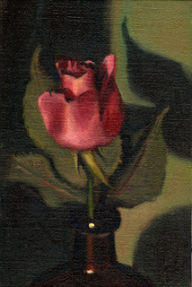 Oil painting of a pink rose with leaves in the neck of a brown glass bottle.