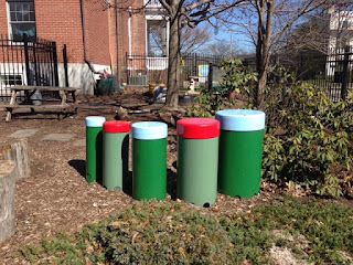 Outdoor musical instruments at Angel Montessori School Playground