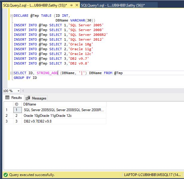 All about SQLServer: How to combine separate row values into