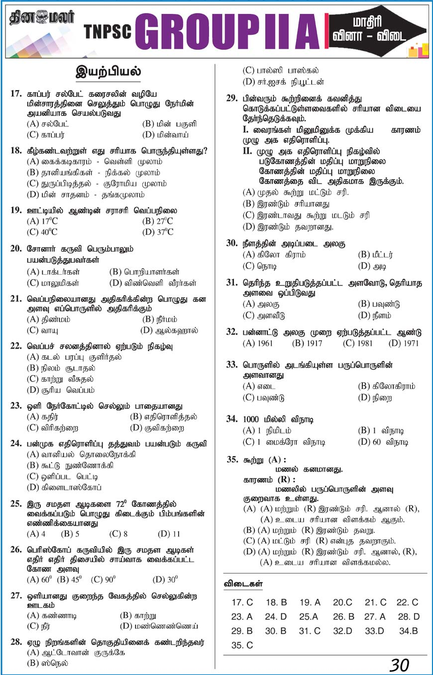 TNPSC GROUP 2 A Model Question Paper Physics