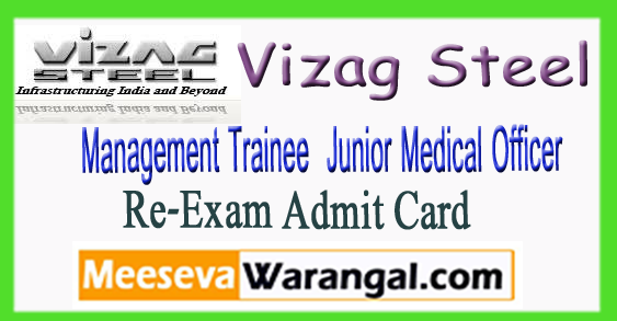 Vizag Steel MT JMO Re-Exam Admit Card 2018