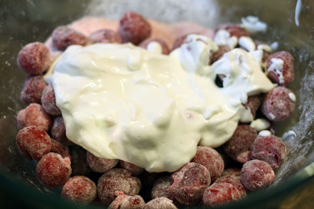 sour cherries with sour cream