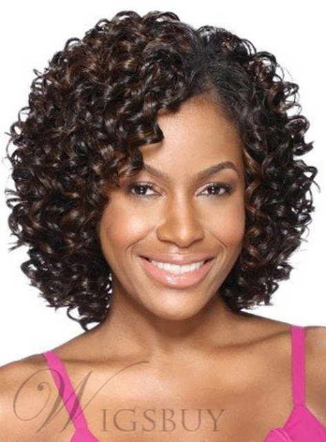 Synthetic Kinky Curly Middle Length Lace Front Women Wigs 12 Inches-Price:$69.29