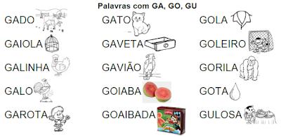 Lista de palavras e desenhos da família silábica GA-GO-GU