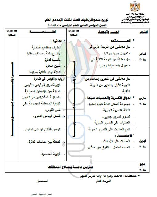 توزيع منهج الرياضيات للصف الثالث الإعدادي الترم الثاني 2018