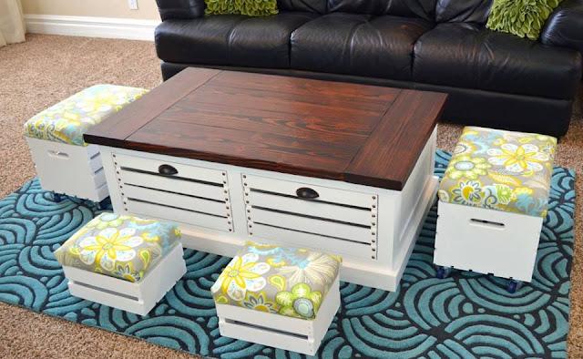banquinho sala mesa centro  reutilizar caixotes de madeira