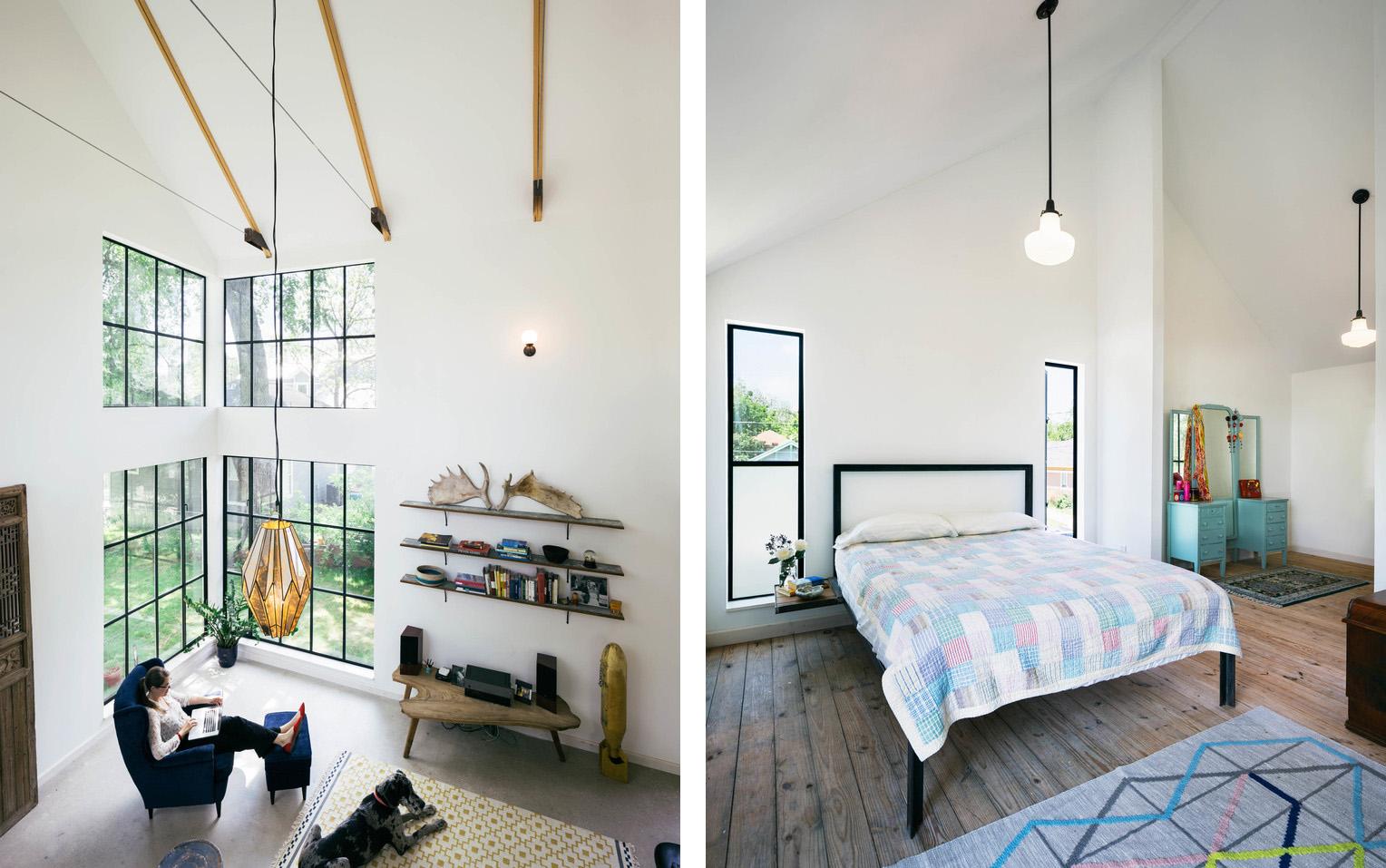 Casa con pareti in cedro e tetto spiovente in Texas by