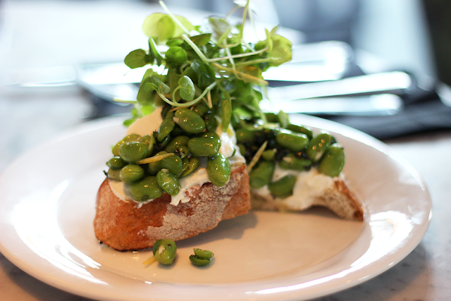 Broad Bean, Mint and Ricotta Bruchetta - The Drift Bar, London