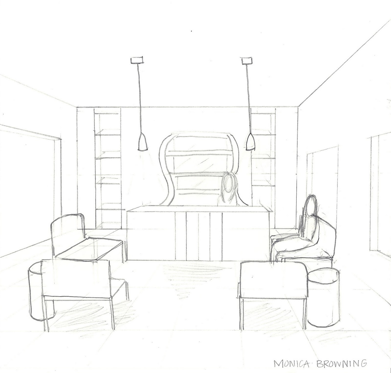 Design by Monica: Reception Space: Sketchup and Color Studies