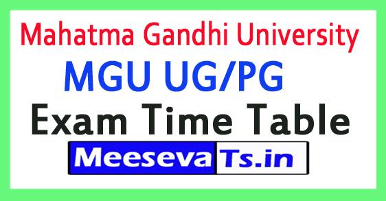 Mahatma Gandhi University MGU UG/PG Exam Time Table 2017