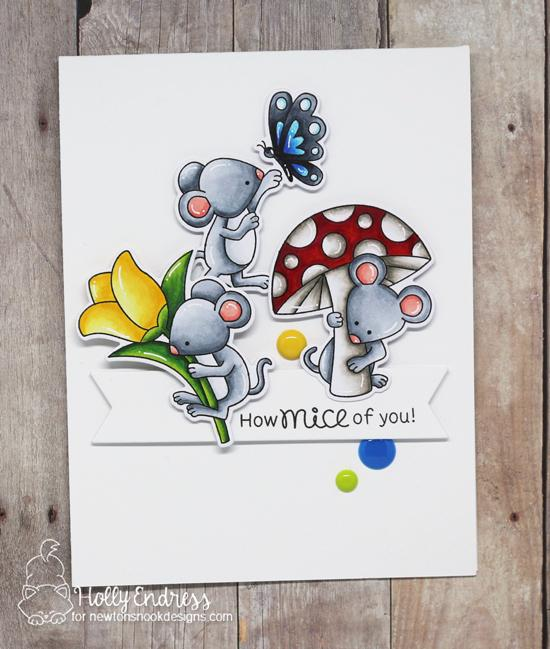 Mouse Card by Holly Endress | Garden Mice Stamp Set by Newton's Nook Designs #newtonsnook #handmade