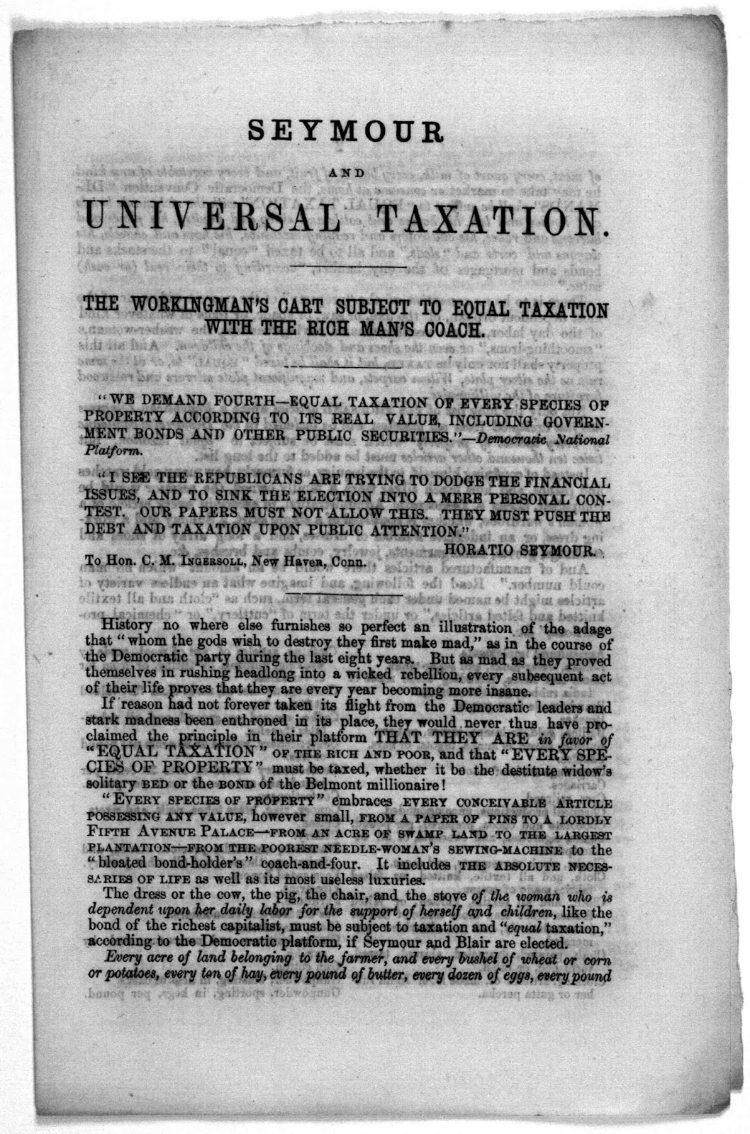 the election of 1868 horatio seymour and universal taxation