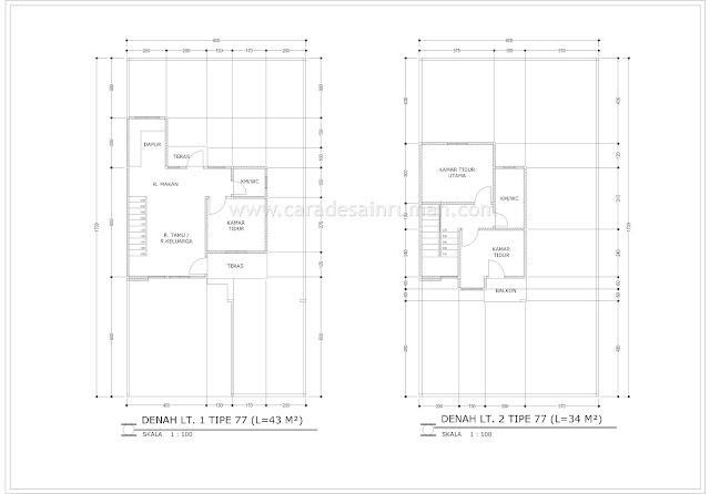 contoh denah rumah bertingkat minimalis type 77