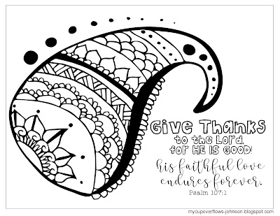 Psalm 107:1 Bible verse coloring page His faithful love endures forever
