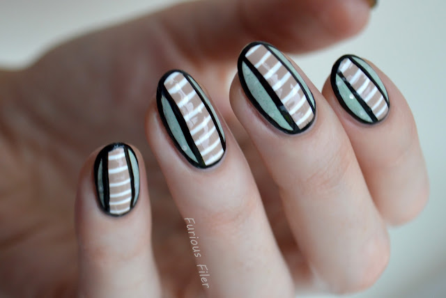 heartyournails mani swap stripes geometric crelly mint green