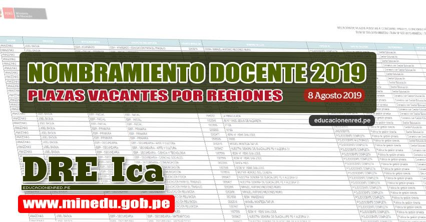 DRE Ica: Relación Final de Plazas Vacantes para Nombramiento Docente 2019 (.PDF ACTUALIZADO 8 AGOSTO) www.dreica.gob.pe