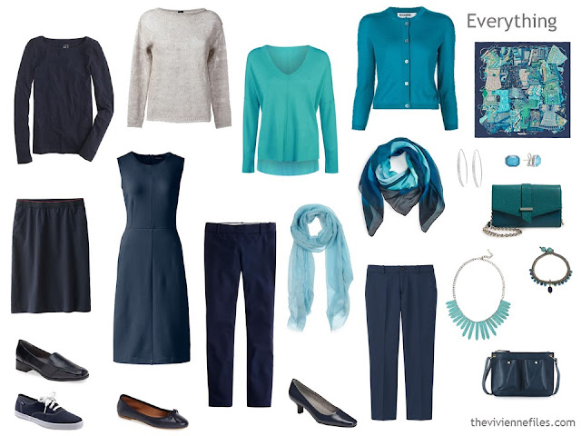 How to build a capsule wardrobe in a navy blue and grey colour palette