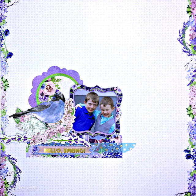 One Scrapbook Page Three Ways featuring BoBunny Secret Garden designed by Rhonda Van Ginkel - Beginning View