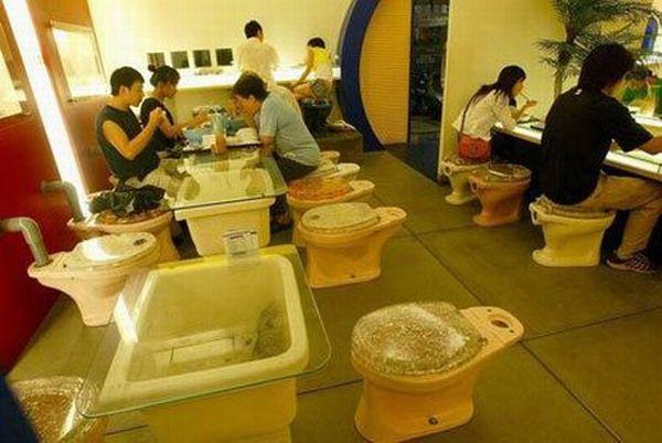 Restaurante con taza de baño