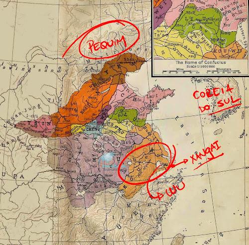 Mapa da China no período das Primaveras e Outonos, no qual teria vivido Sun Tzu, autor d'A Arte da Guerra