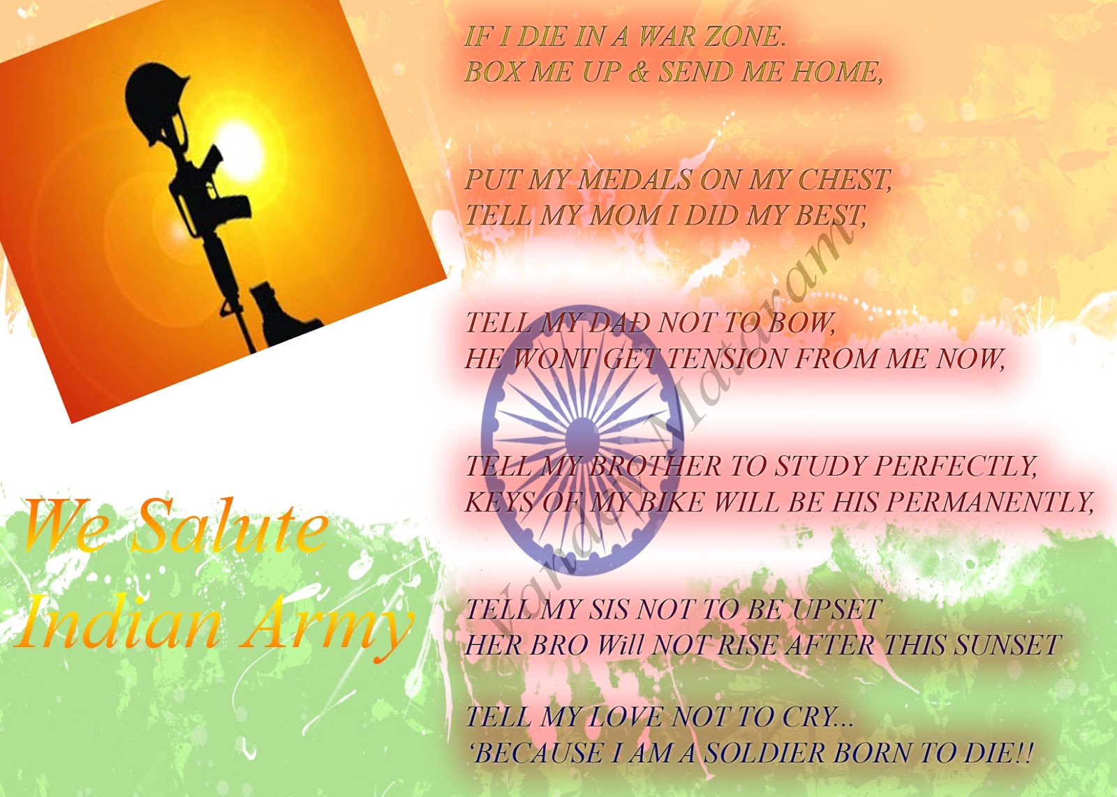 POEM - BY A SOLDIER- IF I DIE IN A WAR ZONE  BOX ME UP