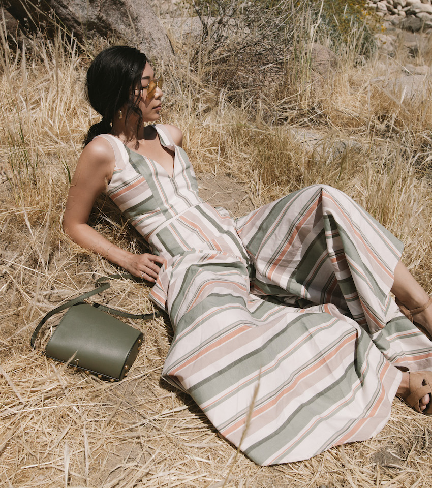 Honey & Silk wearing Christine Alcalay Two-Piece, Flynn Bag, Sonix Sunglasses