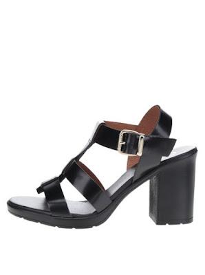Sandale negre OJJU din piele naturala cu toc gros, la reducere
